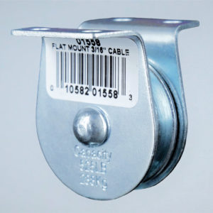 """1-1/2″ Flat Mount Pulley Block; 3/16"""" Rope; 525 lbs"""