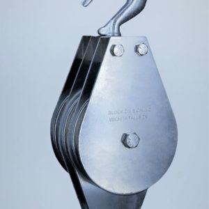 """1-1/2″ Swivel Hook Deadman Pulley Block 3 Sheaves 3/16"""" Rope"""