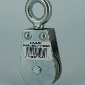 1-1/2″ Swivel Eye Pulley Block; Snatch Pin; 3/16″ Rope