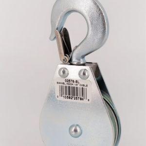 2-1/2″ Swivel Hook Pulley Block; Steel Latch; 1/8″ Rope