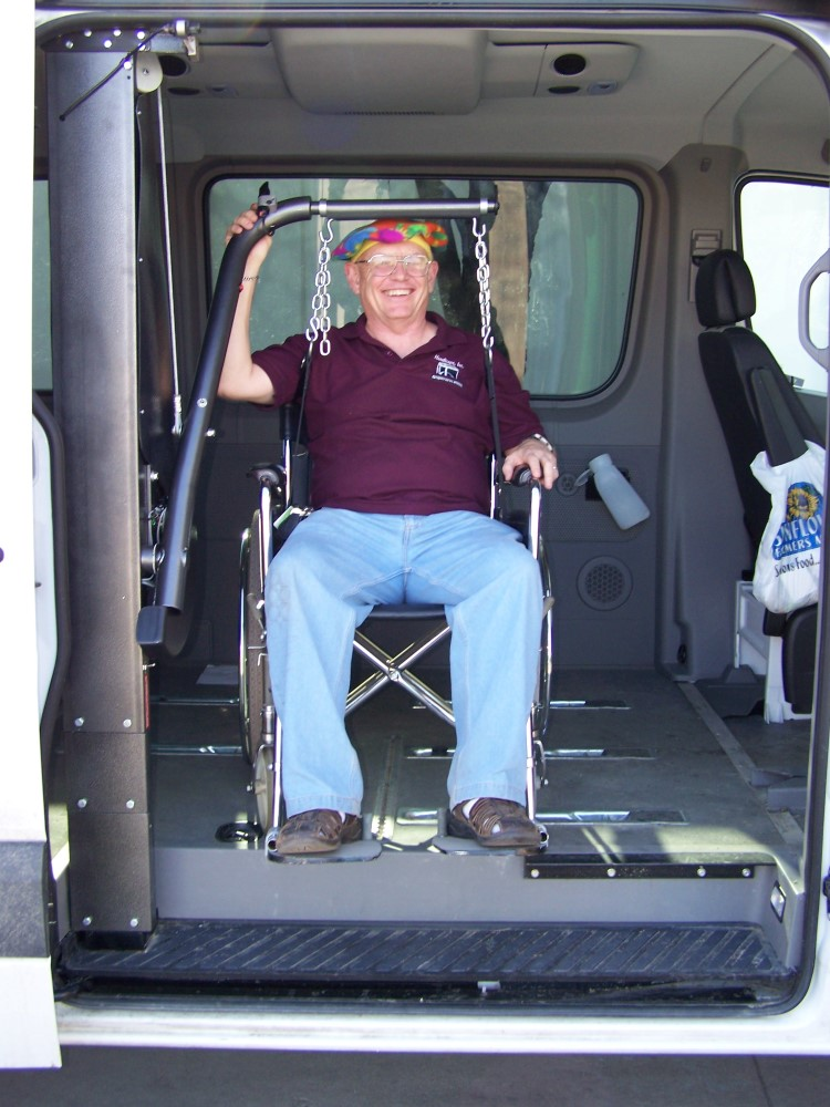 Wheelchair van lift using BlockDivision industrial strength pulley blocks